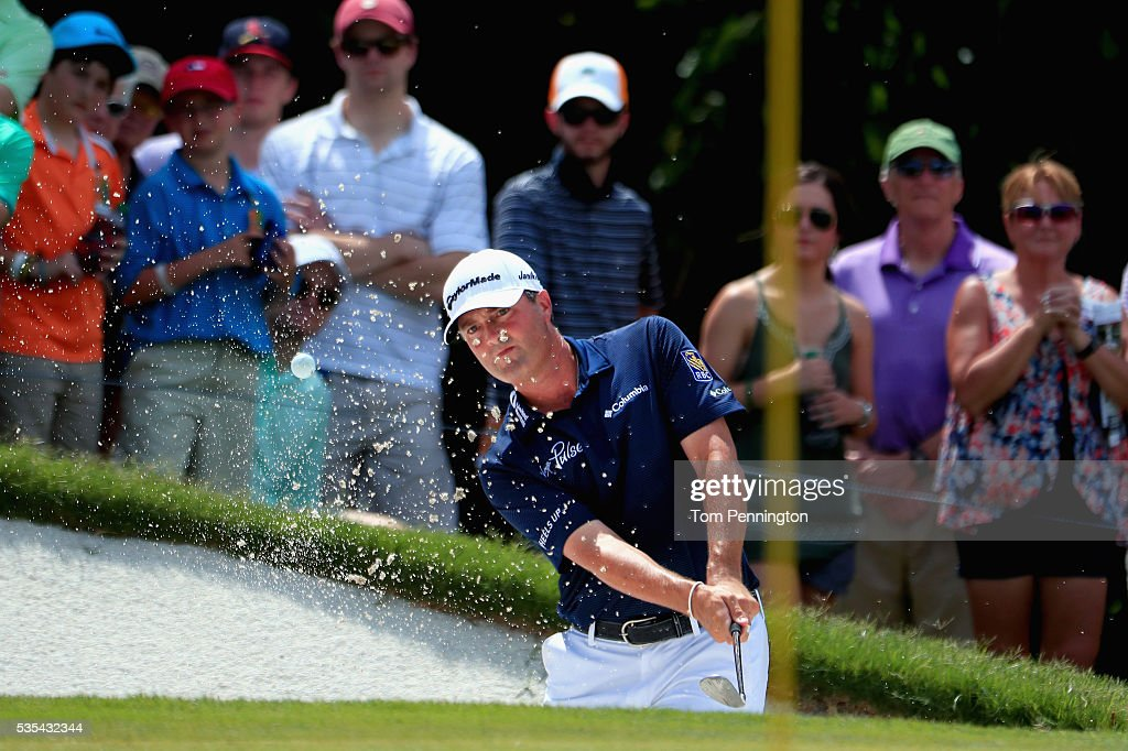 <a gi-track='captionPersonalityLinkClicked' href=/galleries/search?phrase=Ryan+Palmer&family=editorial&specificpeople=240538 ng-click='$event.stopPropagation()'>Ryan Palmer</a> plays a shot from a bunker on the 12th hole during the Final Round of the DEAN & DELUCA Invitational at Colonial Country Club on May 29, 2016 in Fort Worth, Texas.