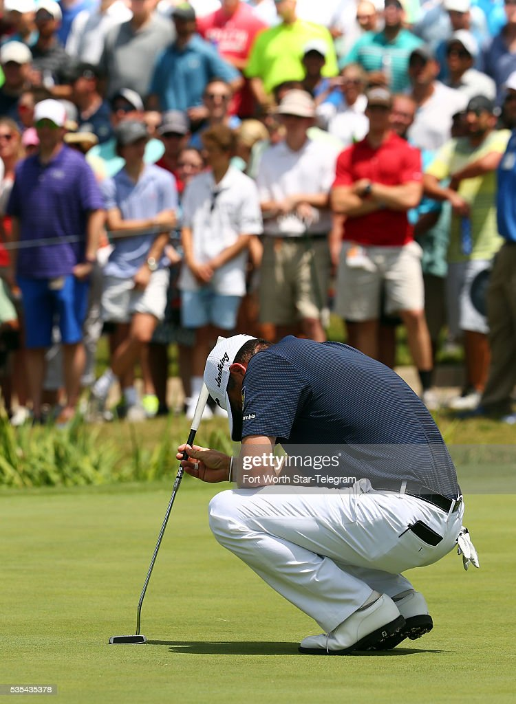 Ryan Palmer reacts after missing a birdie putt on the ninth green during the Dean & Deluca Invitational on Sunday May 29, 2016, at the Colonial Country Club in Fort Worth, Texas.