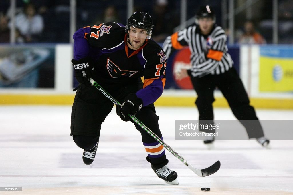 Ryan Parent of the Philadelphia Phantoms controls the puck during the second period against the Bridgeport Sound Tigers on January 23 2008 at the...