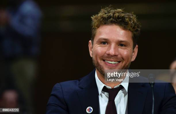 Ryan Phillippe actor director and writer speaks before the Senate Special Committee on Aging during a hearing on 'Military Caregivers Families...