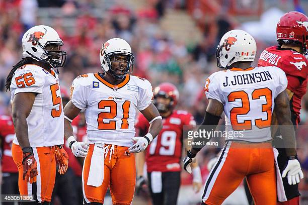 Ryan Phillips of the BC Lions celebrates after stopping Brad Sinopoli of the Calgary Stampeders during a CFL game at McMahon Stadium on August 1 2014...