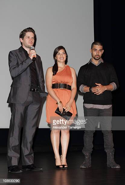 Ryan Piers Williams America Ferrera and Wilmer Valderrama attend Miami Premiere Screening of 'The Dry Land' at Colony Theater on August 21 2010 in...
