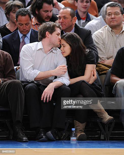Ryan Piers Williams and America Ferrera attend Los Angeles Lakers vs New York Knicks game at Madison Square Garden on February 2 2009 in New York City