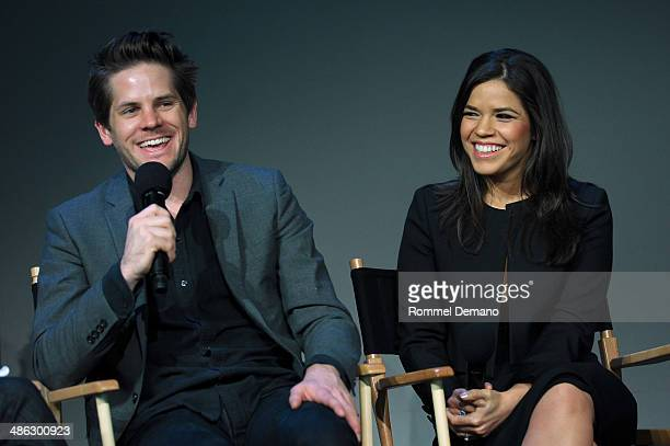 Ryan Piers Williams and America Ferrera attend the Apple Store Soho Presents Ryan Piers Williams America Ferrera and Jon Paul Phillips 'X/Y' during...