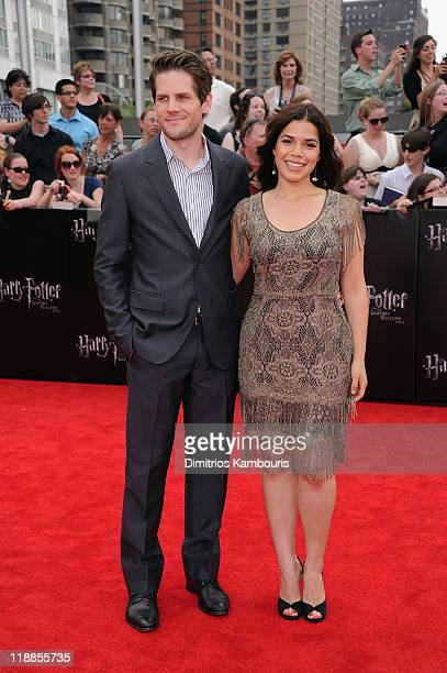 Ryan Piers Williams and America Ferrera attend the premiere of 'Harry Potter and the Deathly Hallows Part 2' at Avery Fisher Hall Lincoln Center on...
