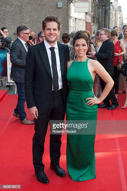 Ryan Piers Williams and America Ferrera attend the Premiere of 'HYENA' at Festival Theatre during the Edinburgh International Film Festival on June...