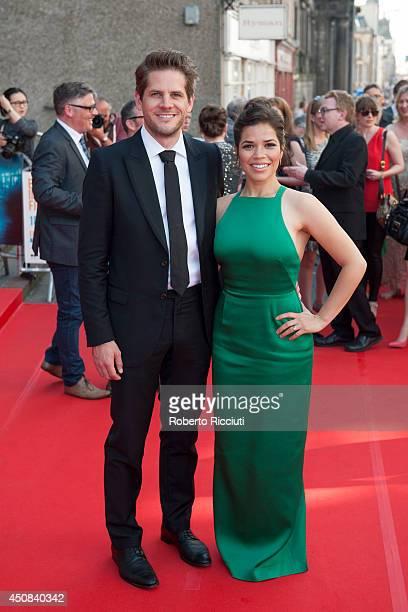 Ryan Piers Williams and America Ferrera attend the Premiere of 'HYENA' at Festival Theatre during the Edinburgh International Film Festival on June...