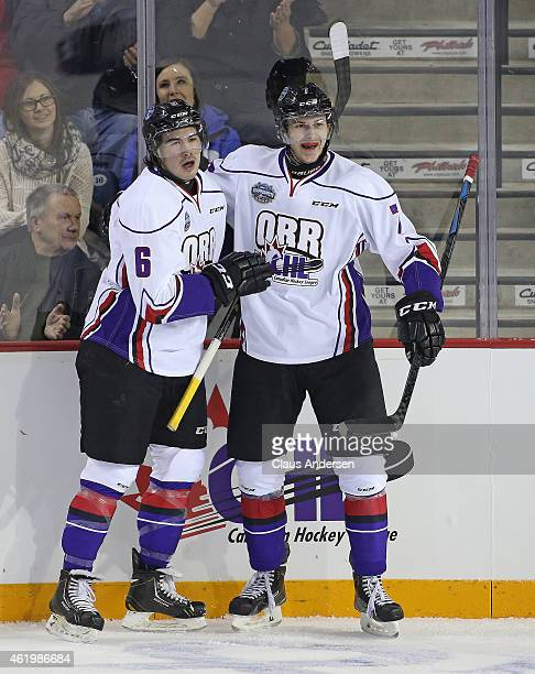 Ryan Pilon of Team Orr celebrates his goal with teammate Paul Bittner against Team Cherry in the 2015 BMO CHL/NHL Top Prospects game at the Meridian...
