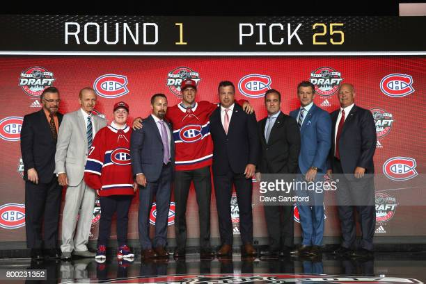 Ryan Poehling poses onstage after being selected 25th overall by the Montreal Canadiens during Round One of the 2017 NHL Draft at United Center on...