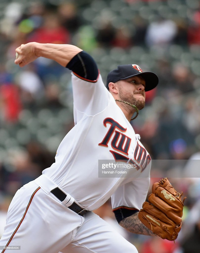 Ryan Pressly #57 of the Minnesota Twins delivers a pitch against the Detroit Tigers during the eighth inning of the game on May 1, 2016 at Target Field in Minneapolis, Minnesota. The Tigers defeated the Twins 6-5.