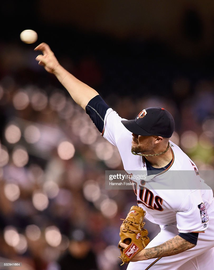 Ryan Pressly #57 of the Minnesota Twins delivers a pitch against the Toronto Blue Jays during the eleventh inning of the game on May 19, 2016 at Target Field in Minneapolis, Minnesota. The Blue Jays defeated the Twins 3-2 in eleven innings.