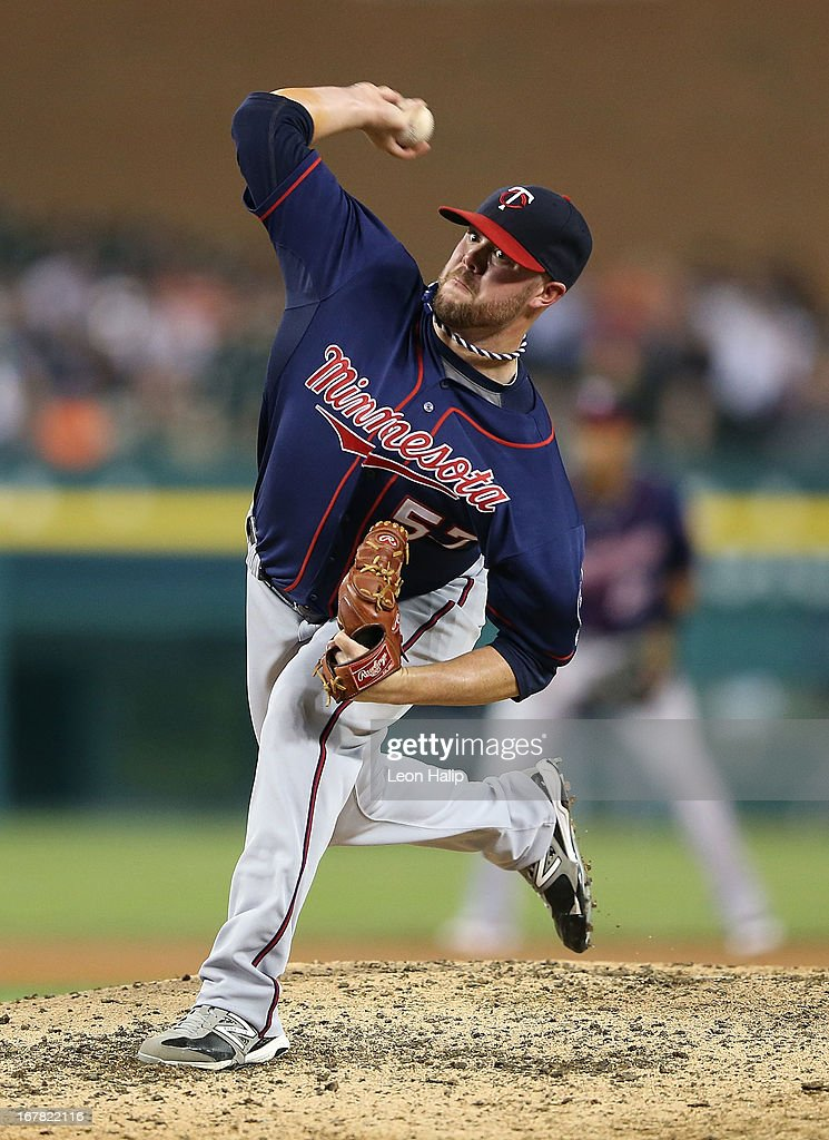 <a gi-track='captionPersonalityLinkClicked' href=/galleries/search?phrase=Ryan+Pressly&family=editorial&specificpeople=10487357 ng-click='$event.stopPropagation()'>Ryan Pressly</a> #57 of the Minnesota Twins pitches in the eighth inning of the game against the Detroit Tigers at Comerica Park on April 30, 2013 in Detroit, Michigan. The Tigers defeated the Twins 6-1.