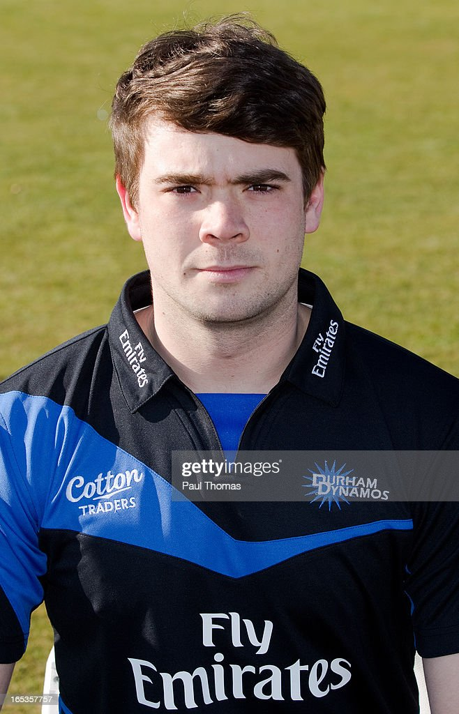 Ryan Pringle of Durham CCC wears the FriendsLife T20 kit during a pre-season photocall at The Riverside on April 3, 2013 in Chester-le-Street, England.