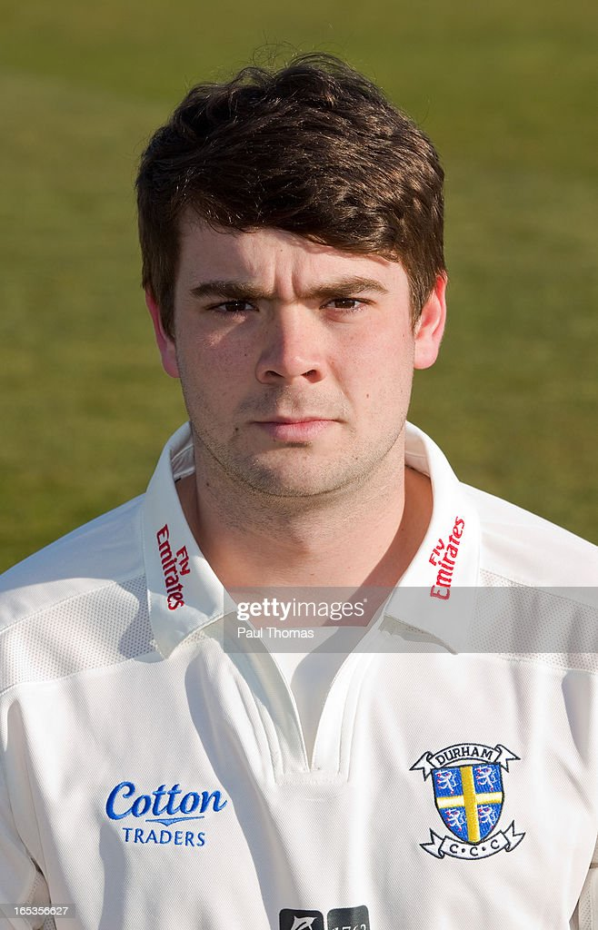 Ryan Pringle of Durham CCC wears the LV= County Championship kit during a pre-season photocall at The Riverside on April 3, 2013 in Chester-le-Street, England.