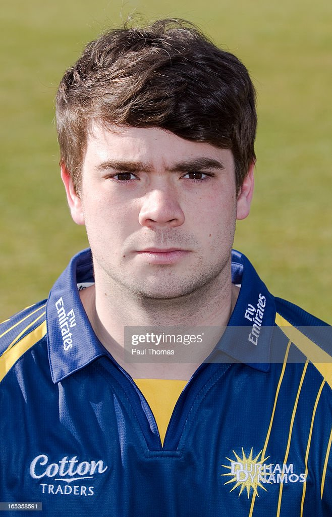 Ryan Pringle of Durham CCC wears the Yorkshire Bank 40 kit during a pre-season photocall at The Riverside on April 3, 2013 in Chester-le-Street, England.