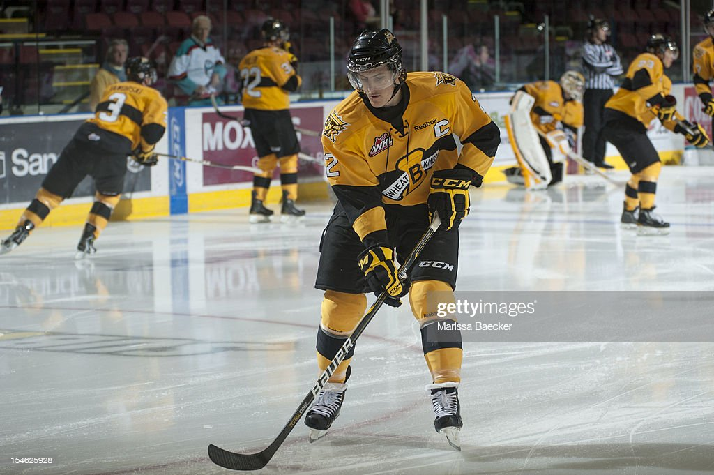 Ryan Pulock #2 of the Brandon Wheat Kings warms up on the ice against the Kelowna Rockets on October 20, 2012 at Prospera Place in Kelowna, British Columbia, Canada.