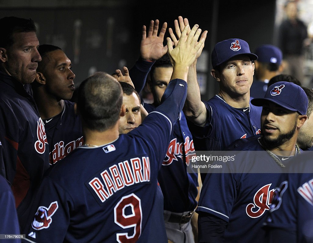 <a gi-track='captionPersonalityLinkClicked' href=/galleries/search?phrase=Ryan+Raburn&family=editorial&specificpeople=2541483 ng-click='$event.stopPropagation()'>Ryan Raburn</a> #9 of the Cleveland Indians celebrates a two run home run against the Minnesota Twins during the sixth inning of the game on August 13, 2013 at Target Field in Minneapolis, Minnesota.