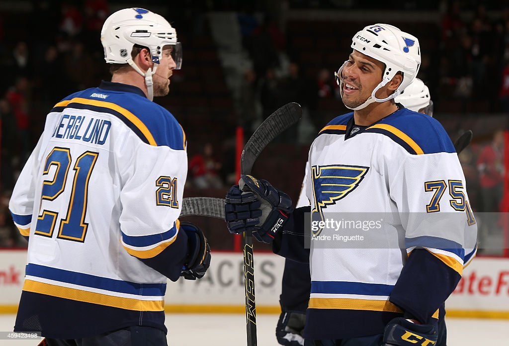 Ryan Reaves and Patrik Berglund of the St Louis Blues celebrate their win against the Ottawa Senators at Canadian Tire Centre on November 22 2014 in...