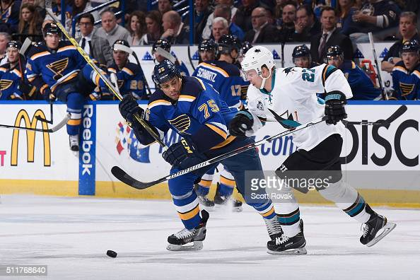 Ryan Reaves of the St Louis Blues and Joonas Donskoi of the San Jose Sharks compete for the puck at the Scottrade Center on February 22 2016 in St...