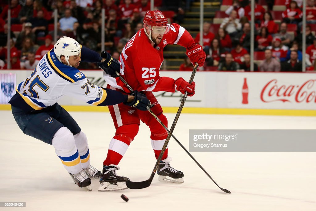 Ryan Reaves #75 of the St. Louis Blues battles for the puck with Mike Green #25 of the Detroit Red Wings during the third period at Joe Louis Arena on February 15, 2017 in Detroit, Michigan. St. Louis won the game 2-0.