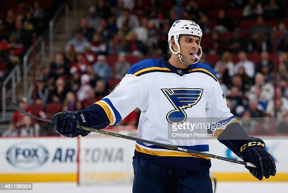 Ryan Reaves of the St Louis Blues during the NHL game against the Arizona Coyotes at Gila River Arena on January 6 2015 in Glendale Arizona The Blues...
