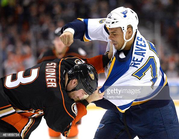 Ryan Reaves of the St Louis Blues fights Clayton Stoner of the Anaheim Ducks to the ice during the first period at Honda Center on January 2 2015 in...