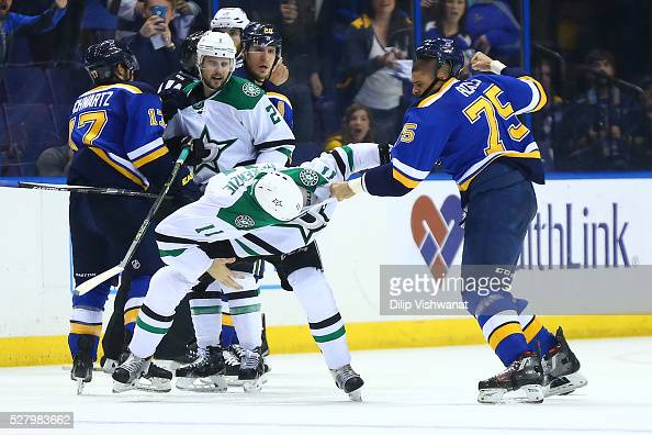 Ryan Reaves of the St Louis Blues fights Curtis McKenzie of the Dallas Stars in Game Three of the Western Conference Second Round during the 2016 NHL...