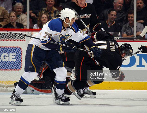 Ryan Reaves of the St Louis Blues knocks down Saku Koivu of the Anaheim Ducks at the Honda Center on January 12 2011 in Anaheim California