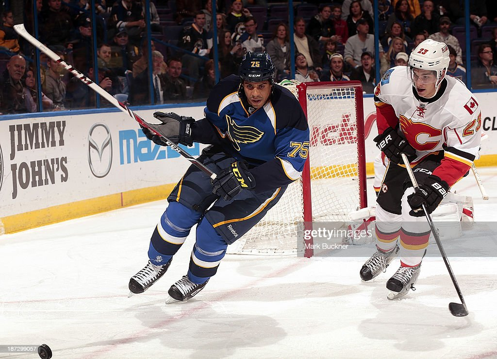 <a gi-track='captionPersonalityLinkClicked' href=/galleries/search?phrase=Ryan+Reaves&family=editorial&specificpeople=4601052 ng-click='$event.stopPropagation()'>Ryan Reaves</a> #75 of the St. Louis Blues races Sean Monahan #23 of the Calgary Flames to the puck on November 7, 2013 at Scottrade Center in St. Louis, Missouri.