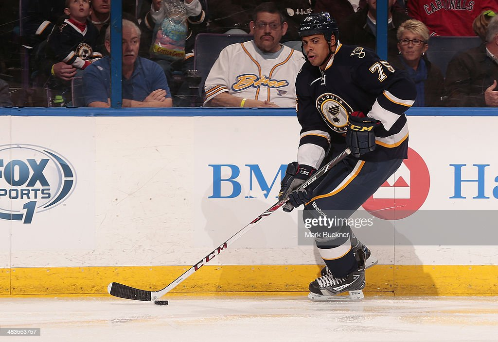 Ryan Reaves of the St Louis Blues skates against the Colorado Avalanche during an NHL game on April 5 2014 at Scottrade Center in St Louis Missouri