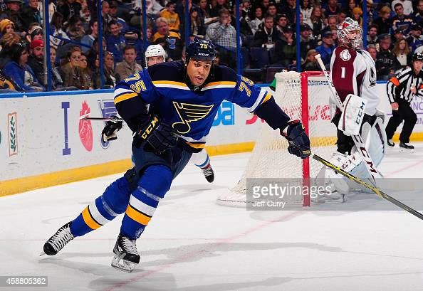 Ryan Reaves of the St Louis Blues skates against the Colorado Avalanche on November 1 2014 at Scottrade Center in St Louis Missouri
