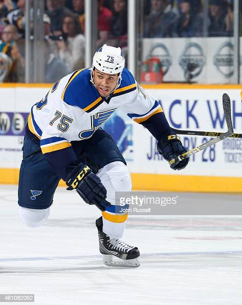 Ryan Reaves of the St Louis Blues skates against the Nashville Predators at Bridgestone Arena on December 30 2014 in Nashville Tennessee