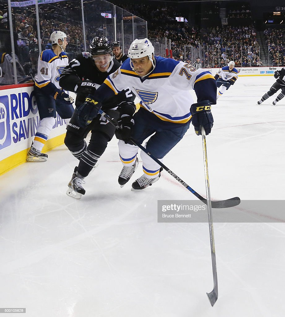 Ryan Reaves of the St Louis Blues skates against the New York Islanders at the Barclays Center on December 4 2015 in Brooklyn borough of New York City