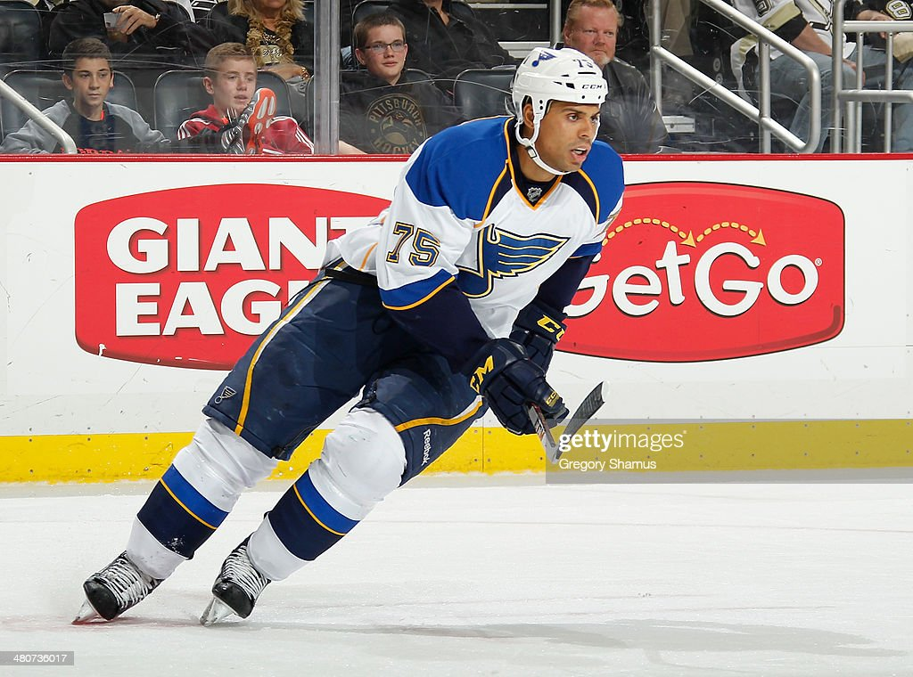 Ryan Reaves of the St Louis Blues skates against the Pittsburgh Penguins on March 23 2014 at Consol Energy Center in Pittsburgh Pennsylvania
