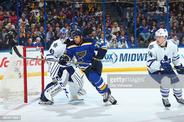 Ryan Reaves of the St Louis Blues skates against the Toronto Maple Leafs at the Scottrade Center on January 17 2015 in St Louis Missouri