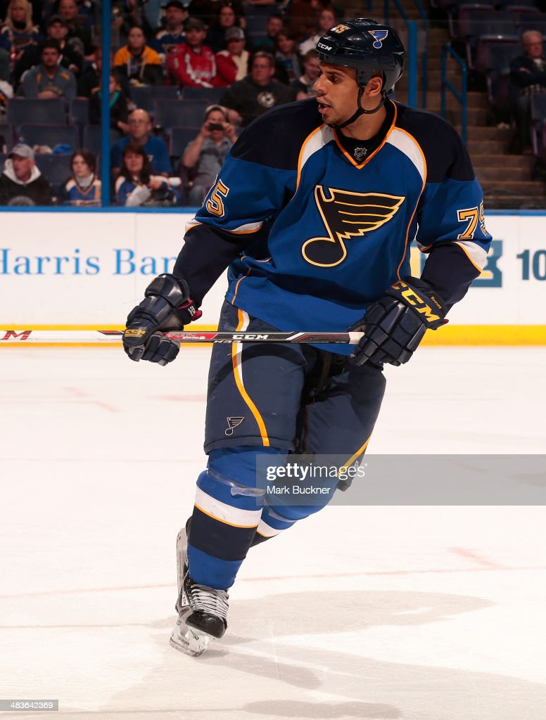 Ryan Reaves of the St Louis Blues skates against the Washington Capitals during an NHL game on April 8 2014 at Scottrade Center in St Louis Missouri