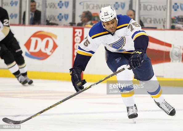 Ryan Reaves of the St Louis Blues skates during the game against the Pittsburgh Penguins at Consol Energy Center on March 24 2015 in Pittsburgh...