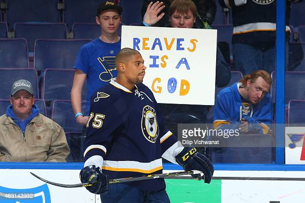 Ryan Reaves of the St Louis Blues skates during warm ups prior to playing against the Arizona Coyotes at the Scottrade Center on February 10 2015 in...