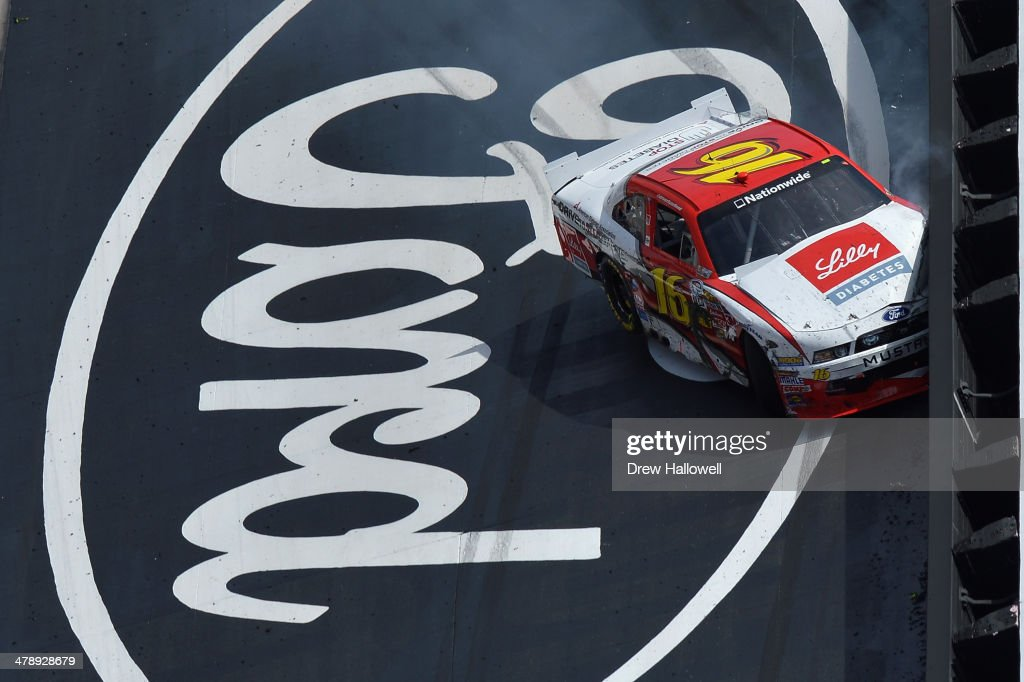 Ryan Reed, driver of the #16 ADA Drive to Stop Diabetes presented by Lilly Diabetes Ford, is involved in an on-track incident during the NASCAR Nationwide Series Drive To Stop Diabetes 300 at Bristol Motor Speedway on March 15, 2014 in Bristol, Tennessee.