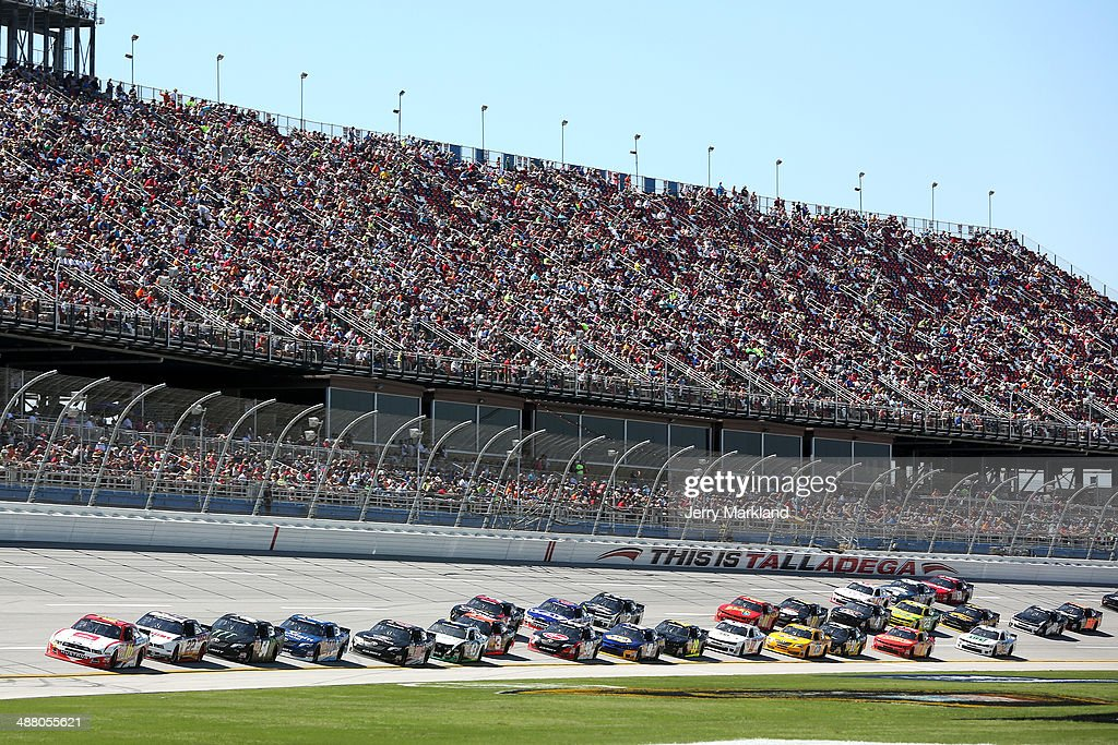 Ryan Reed, driver of the #16 ADA Drive to Stop Diabetes presented by Lilly Diabetes Ford, leads a pack of cars during the NASCAR Nationwide Series Aaron's 312 at Talladega Superspeedway on May 3, 2014 in Talladega, Alabama.
