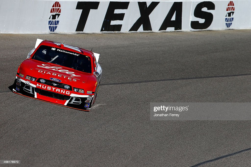 Ryan Reed driver of the ADA Drive to Stop Diabetes/Lilly Diabetes Ford practices for the NASCAR Nationwide Series O'Reilly Auto Parts Challenge at...