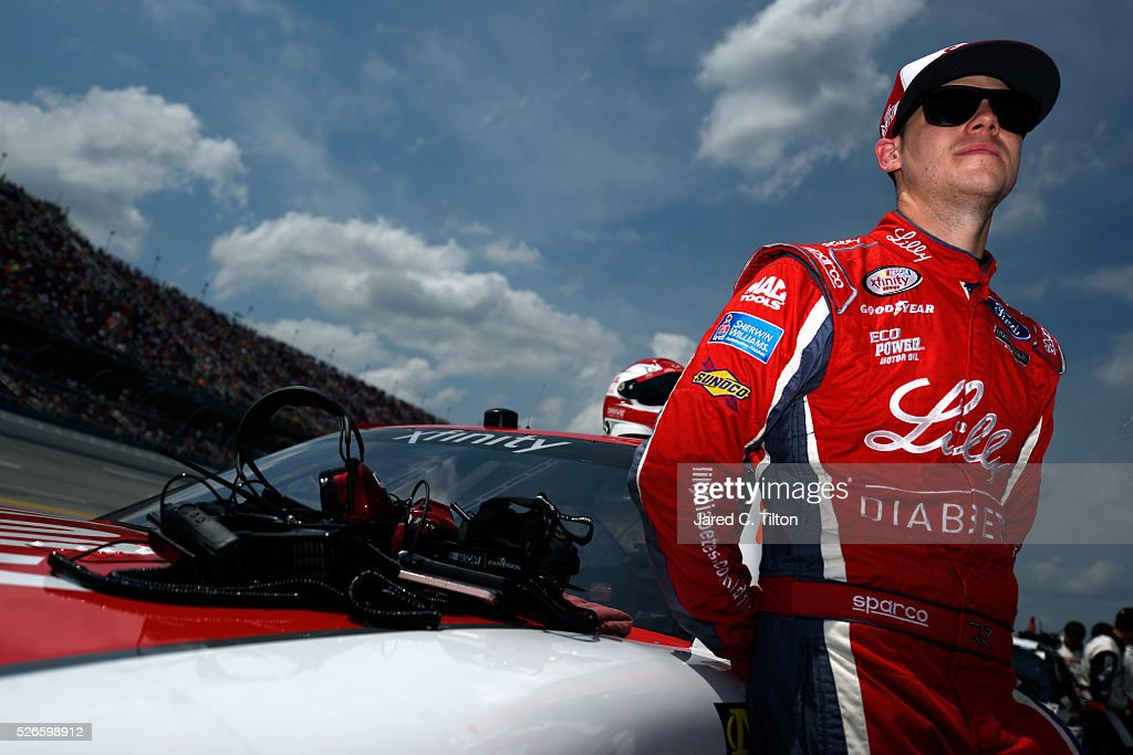 <a gi-track='captionPersonalityLinkClicked' href=/galleries/search?phrase=Ryan+Reed&family=editorial&specificpeople=3908663 ng-click='$event.stopPropagation()'>Ryan Reed</a>, driver of the #16 Lilly Diabetes/American Diabetes Assoc Ford, stands on the grid prior to the NASCAR XFINITY Series Sparks Energy 300 at Talladega Superspeedway on April 30, 2016 in Talladega, Alabama.
