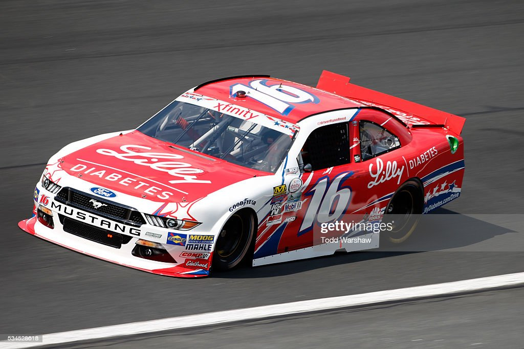 <a gi-track='captionPersonalityLinkClicked' href=/galleries/search?phrase=Ryan+Reed&family=editorial&specificpeople=3908663 ng-click='$event.stopPropagation()'>Ryan Reed</a>, driver of the #16 Lilly Diabetes/American Diabetes Association Ford, drives during practice for the NASCAR XFINITY Series Hisense 4K TV 300 at Charlotte Motor Speedway on May 27, 2016 in Charlotte, North Carolina.