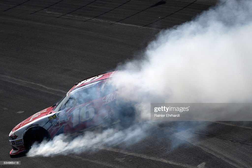 <a gi-track='captionPersonalityLinkClicked' href=/galleries/search?phrase=Ryan+Reed&family=editorial&specificpeople=3908663 ng-click='$event.stopPropagation()'>Ryan Reed</a>, driver of the #16 Lilly Diabetes/American Diabetes Association Ford, is involved in an on-track incident during the NASCAR XFINITY Series Hisense 300 at Charlotte Motor Speedway on May 28, 2016 in Charlotte, North Carolina.