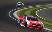 Ryan Reed driver of the Lilly Diabetes/American Diabetes Association Ford races during the NASCAR XFINITY Series Lilly Diabetes 250 Heat at...