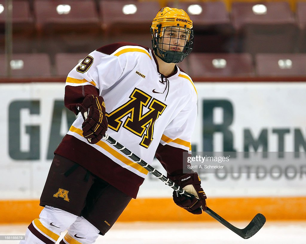 Ryan Reilly #9 of the University of Minnesota warms up before a game with the United States U-18 team October 26, 2012 at Mariucci Arena in Minneapolis, Minnesota.