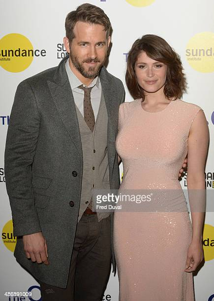 Ryan Reynolds and Gemma Arterton attend the premiere of 'The Voices' at Sundance London at Cineworld 02 Arena on April 26 2014 in London England...