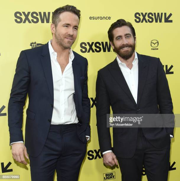 Ryan Reynolds and Jake Gyllenhaal attend the Premier of 'Life' at the Zach Theatre during the 2017 SXSW Conference And Festivals on March 18 2017 in...