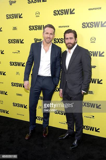 Ryan Reynolds and Jake Gyllenhaal attend the premiere of 'Life' at the Zach Scott Theater during South By Southwest Conference and Festival on March...