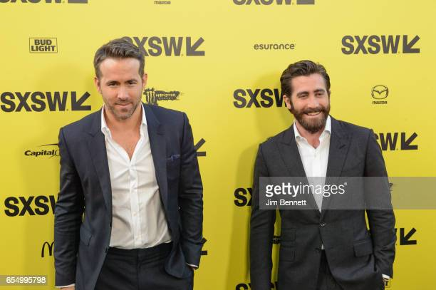 Ryan Reynolds and Jake Gyllenhaal attend the world premiere of 'Life' during 2017 SxSW Conference and Festivals at the ZACH Theater on March 18 2017...
